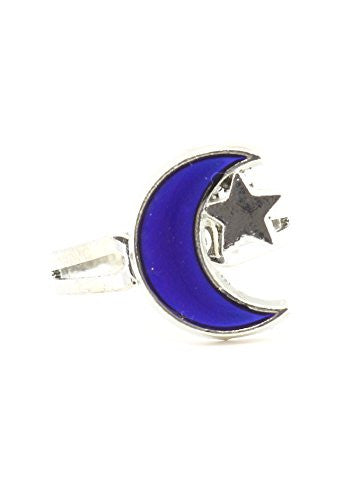 Crescent Moon and Star Mood Ring Adjustable Silver Tone RL18 Color Change Statement Fashion Jewelry