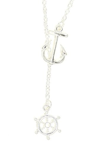 Nautical Anchor Lariat Necklace Silver Tone Maritime Yacht Ship Wheel NT63 Sailor Pendant Fashion Jewelry