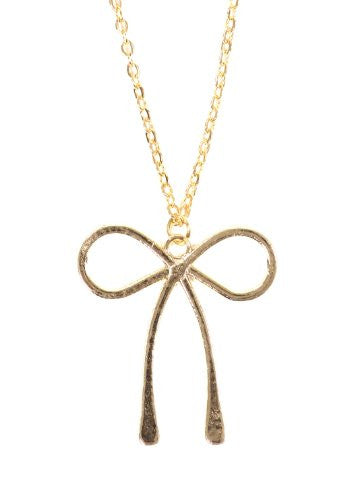 Ribbon Bow Necklace Vintage Gold Tone Tie Charm Pendant NO42 Fashion Jewelry