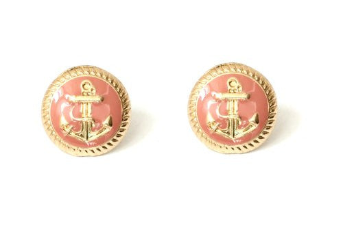 Nautical Anchor Stud Earrings Pink Gold Tone EB16 Yacht Sailor Maritime Post Fashion Jewelry