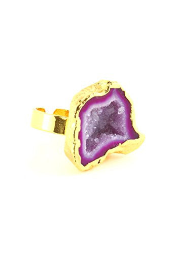 Pink Druzy Agate Crystal Ring Adjustable Geode RK42 Cocktail Statement Fashion Jewelry
