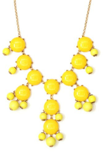 Bubble Bib Necklace Yellow Crystal Bauble Beaded Gold Tone NG24 Fashion Jewelry