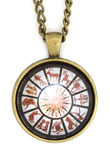 Zodiac Wheel Necklace Antique Gold Tone NS22 Astrology Black Medallion Pendant Fashion Jewelry