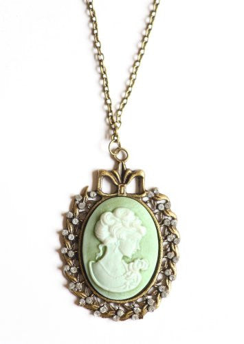 Romantic Cameo Necklace Gold Tone NC08 Antique Crystal Pendant Fashion Jewelry