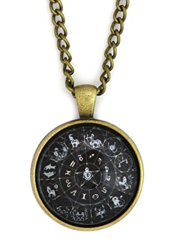 Zodiac Wheel Necklace Antique Gold Tone NS21 Astrology Black Medallion Pendant Fashion Jewelry