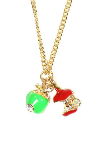 Crystal Apples Necklace Red Green Fruit Core Charm Pendant NO32 School Teacher
