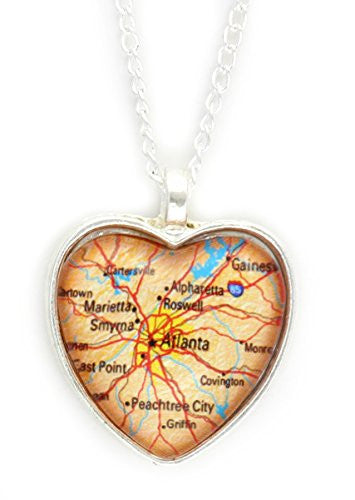 Atlanta Georgia City Map Necklace Silver Tone NY41 Hometown Heart Pendant Fashion Jewelry