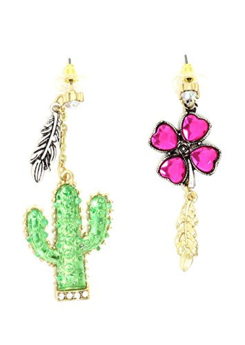 Desert Rose and Cactus Stud Earrings Gold Tone Feather Charms Chandelier Posts EI07 Fashion Jewelry