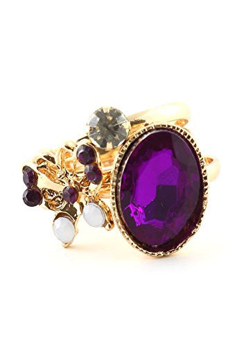 Violet Butterfly Crystal Stacking Rings Set Antique Gold Tone RM15 Fashion Jewelry