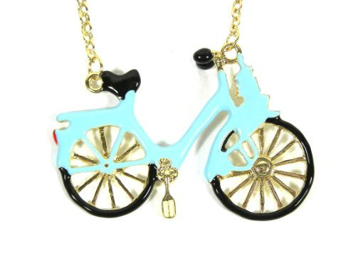 Bicycle Necklace Vintage Bike Blue Retro Velo NA23 Gold Tone Turquoise Fixie Pendant