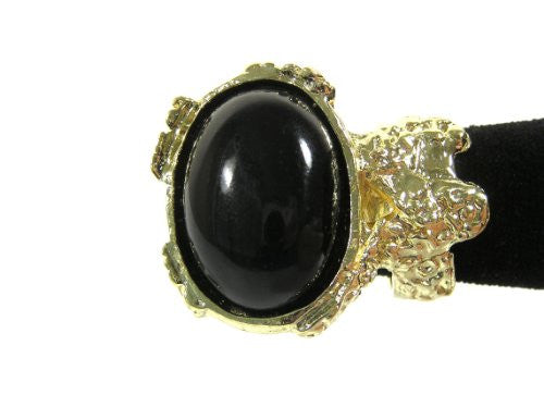 Arty Black Cabochon Gem Ornate Cocktail Ring Size 6 Antique Gold Tone Oval RF26 Fashion Jewelry