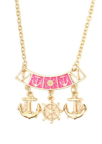 Nautical Anchor Charms Necklace Pink Gold Tone NN18 Yacht Ship Wheel Sailor Pendant