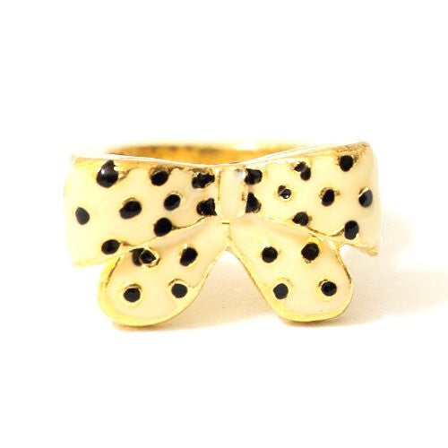 Polka Dot Bow Tie Ring Size 6 Dalmation Spotted Ribbon RE31 Cocktail Fashion Jewelry