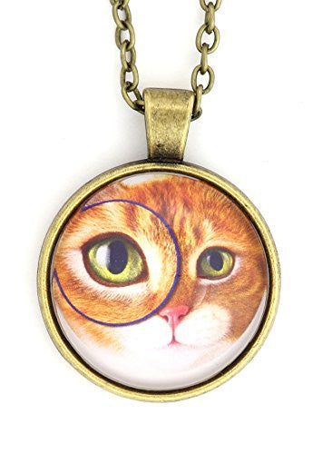 Monocle Orange Tabby Cat Necklace Silver Tone NX47 Zoom Eye Pet Kitty Art Print Pendant Fashion Jewelry