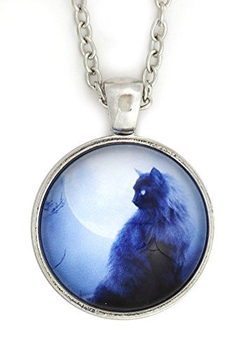 Full Moon Black Cat Necklace Silver Tone NX57 Art Print Pendant Fashion Jewelry