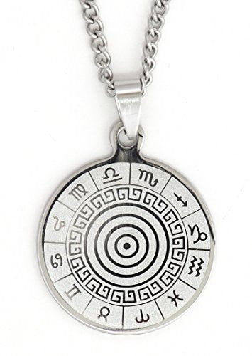 Zodiac Wheel Necklace Silver Tone NW06 Astrology Medallion Pendant Fashion Jewelry