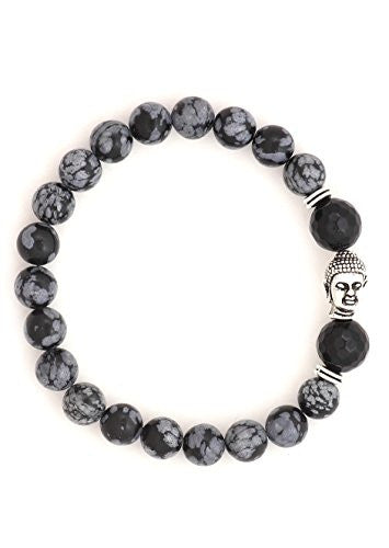 Buddha Charm Beaded Stretch Bracelet Black Gray BE31 Silver Tone Amulet Fashion Jewelry