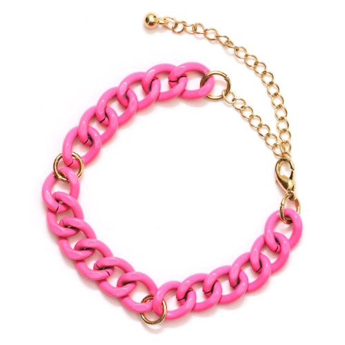 Chain Links Bracelet Neon Pink Statement Bangle BB37 Fashion Jewelry