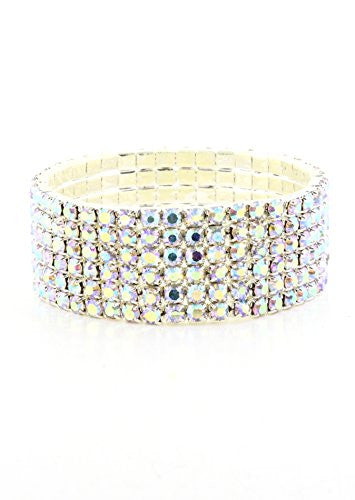 Aurora Borealis Crystal Stretch Bracelet Cuff BA60 Fashion Jewelry