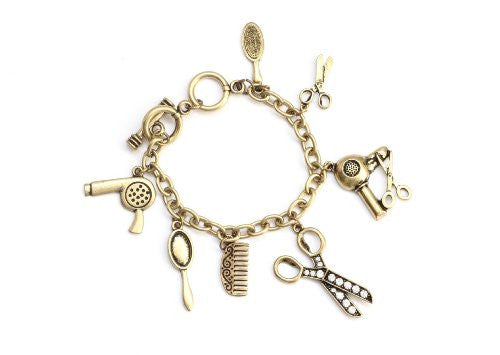 Vintage Beauty Salon Charms Bracelet Hair Stylist Scissors Dryer Comb Brush Bangle BD03 Fashion Jewelry