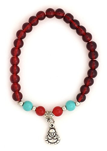 Buddha Charm Red Karma Beads Stretch Bracelet BD45 Vintage Silver Tone Amulet Fashion Jewelry