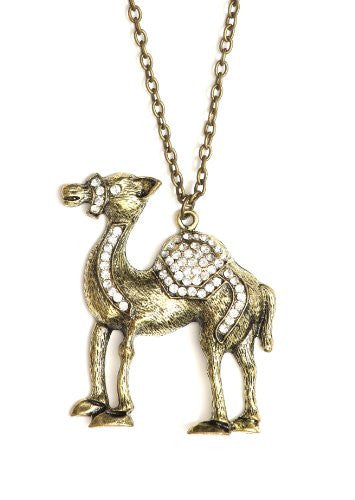 Camel Necklace Crystal Arabic Pendant NJ52 Middle Eastern Vintage Gold Tone Desert Fashion Jewelry