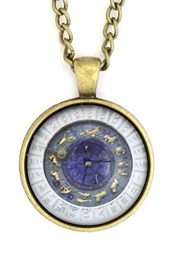 Zodiac Wheel Necklace Antique Gold Tone NS24 Astrology Medallion Pendant Fashion Jewelry