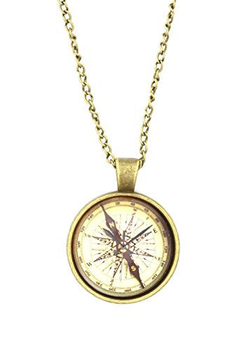 Atlas Compass Necklace Vintage Gold Tone Art Dome Pendant NQ43 Fashion Jewelry