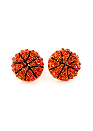 Crystal Basketball Stud Earrings Orange Ball Athletics Sports Posts EG72 Fashion Jewelry