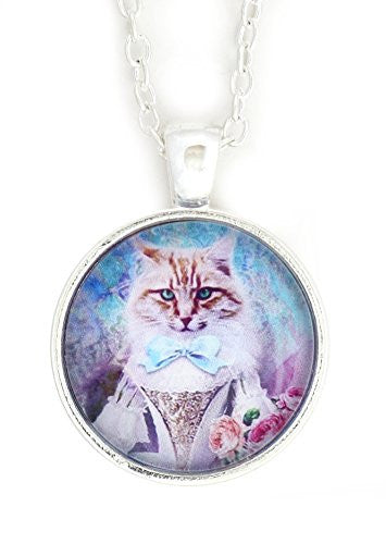 Princess Tabby Cat Necklace Silver Tone NV59 Medieval Fantasy Pet Kitty Art Print Pendant Fashion Jewelry
