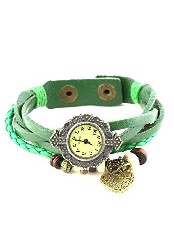 Beaded Green Leather Watch Bracelet Gold Tone WA04 Heart Charm Vintage Braided Snap Cuff Fashion Jewelry