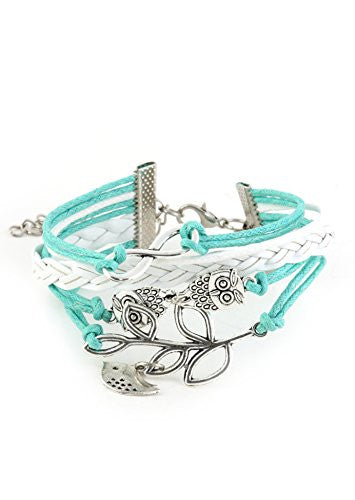 Owls Bird and Branch Charms Faux Leather Bracelet Silver Tone BE13 Retro White Blue Fashion Jewelry