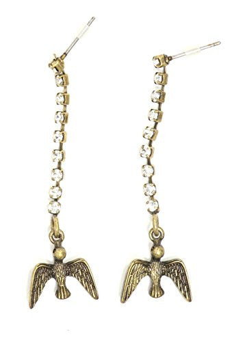Bird Crystal Dangling Stud Earrings Vintage Gold Tone Chandelier Posts EI01 Fashion Jewelry