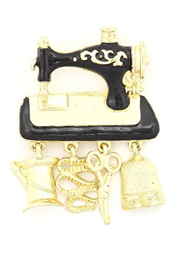 Vintage Sewing Machine Charms Brooch Pin Gold Tone MA01 Scissors Thread Thimble Antique Fashion Jewelry