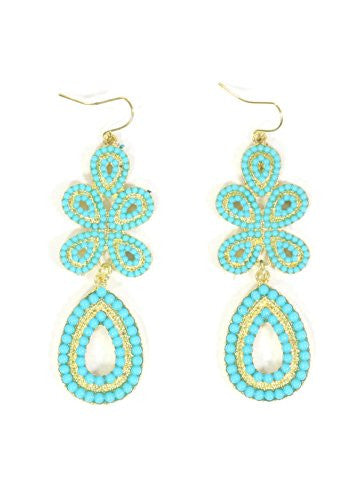 Turquoise Blue Beaded Chandelier Earrings Dangling Teardrop EF03 Statement Fashion Jewelry