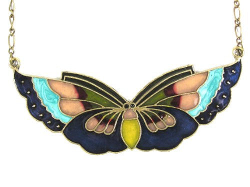 Large Butterfly Necklace Navy Blue Vintage Antique NB05 Rainbow Stained Glass Pendant Fashion Jewelry