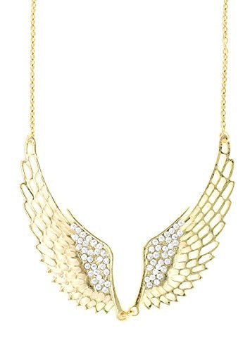 Crystal Angel Wings Necklace Gold Tone NY55 Statement Pendant Fashion Jewelry