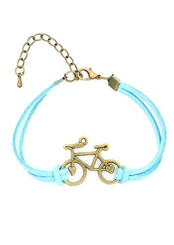 Bicycle Bracelet Antique Gold Tone Blue Faux Leather Band Vintage Bike BA49 Fashion Jewelry