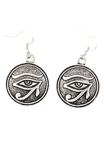 Eye of Horus Disc Earrings Silver Tone Royal Egyptian Pharaoh EI70 Dangle Fashion Jewelry