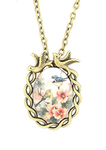 Robin and Bluebird Necklace Antique Gold Tone Vintage Art Print Pendant Bird NR44 Fashion Jewelry