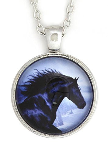 Black Beauty Horse Necklace Silver Tone NV15 Equestrian Horse Photo Print Pendant Fashion Jewelry