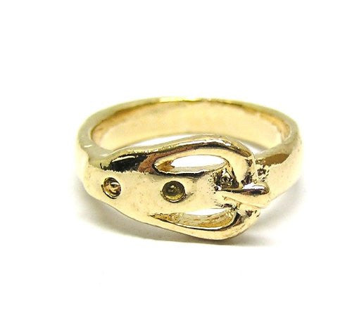 Belt Loop Ring Size 5 Vintage Gold Tone RE35 Statement Fashion Jewelry