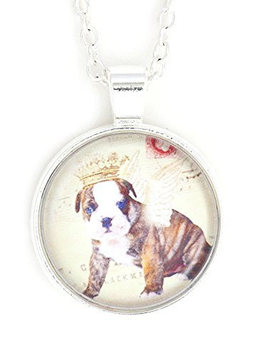 Pit Bull Puppy Angel Necklace Silver Tone NW27 Pet Dog Art Print Pendant Fashion Jewelry