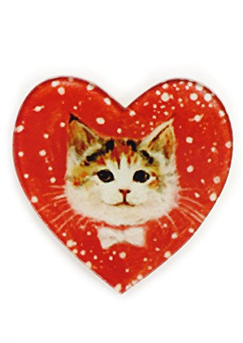 Tabby Cat Heart Brooch Valentine's Day Pin MA05 Pet Kitty Bow Tie Love Fashion Jewelry