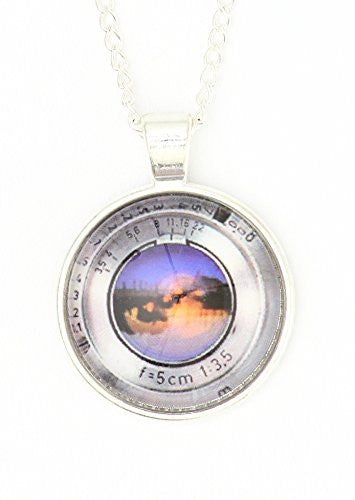 Camera Lens Necklace Silver Tone Photographer Pendant NP64 Fashion Jewelry