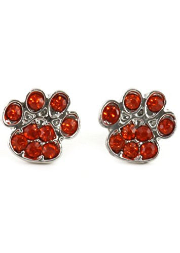 Dog Paw Print Stud Earrings Silver Tone EK42 Orange Red Crystal Canine Posts Fashion Jewelry