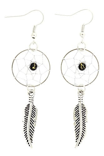 Dreamcatcher Dangle Earrings Black Beaded Chandelier Tribal Silver Tone EG46 Feather