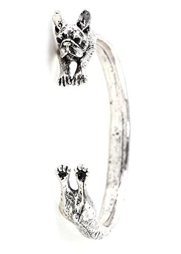French Bulldog Cuff Wrap Bracelet Silver Tone BD41 Pet Puppy Dog Bangle Fashion Jewelry
