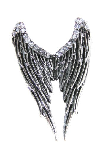 Arch Angel Wings Ring Adjustable Silver Antique RE05 Crystal Cherub Feathers Fashion Jewelry