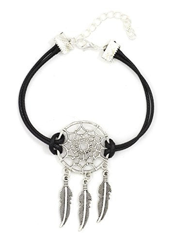 Dreamcatcher Feather Charms Bracelet Black Silver Tone BD55 Southwestern Fashion Jewelry